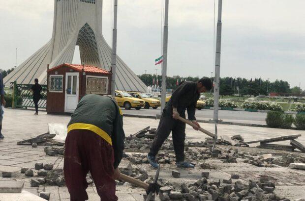تخریب در پارکینگ برج آزادی
